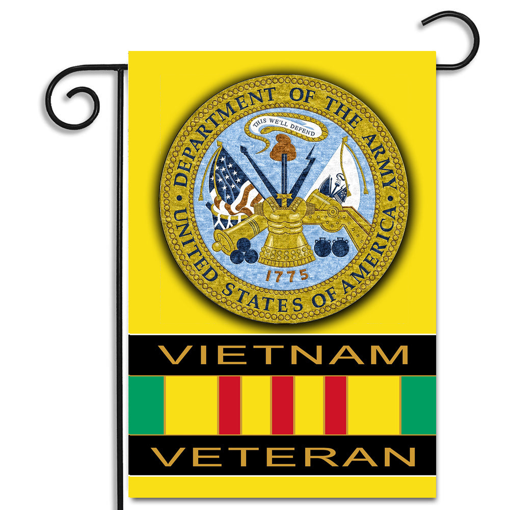United States Army Emblem Vietnam Veteran Ribbon Apartment or Garden Flag