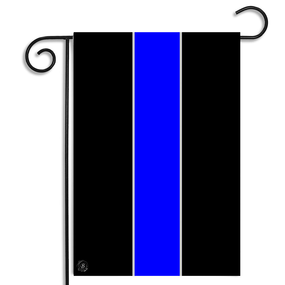 Thin Blue Line of law Enforcement Garden Flag