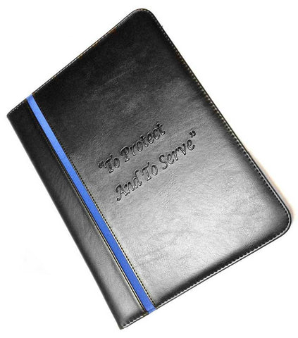 Thin Blue Line To Protect And To Serve Law Enforcement Padfolio