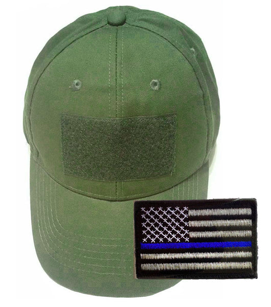 Tactical Cap with Velcro Includes A Thin Blue Line American Flag Patch