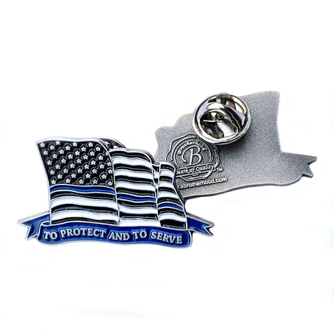 Thin Blue Line Law Enforcement American Flowing Flag To Protect And To Serve Lapel Pin