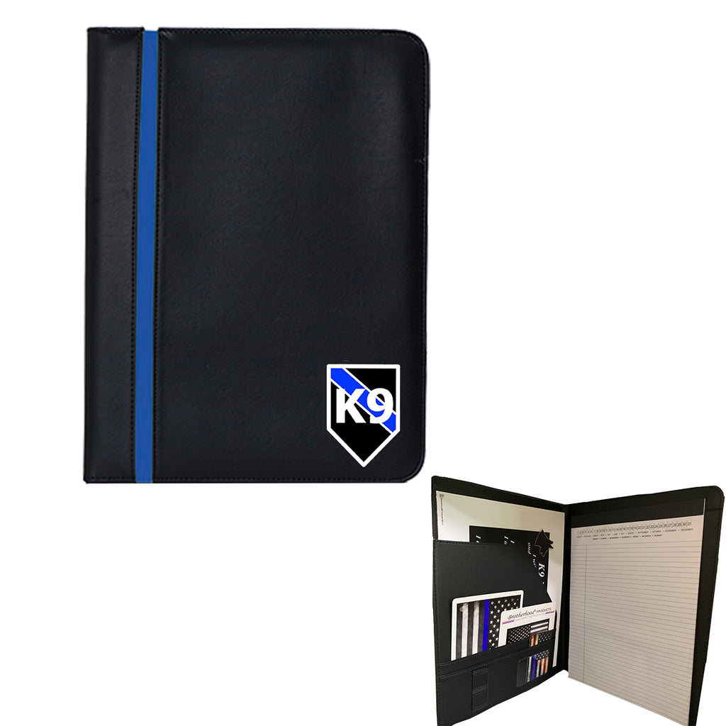 Thin Blue Line K9 Police Officer Padfolio Memo Pad Holder Bundle