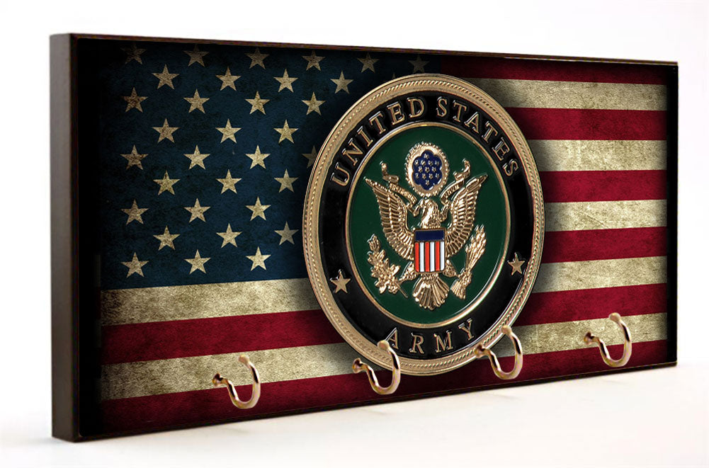 United States Army Seal Distressed American Flag Wood Key Hanger