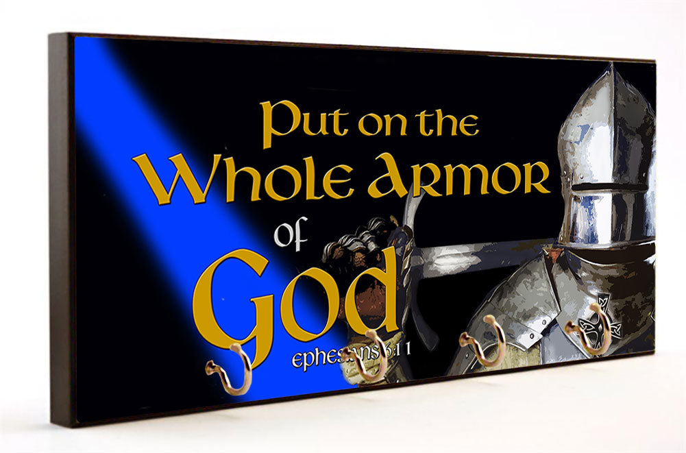 Put On The Whole Armor of God Blue Line Key Hanger