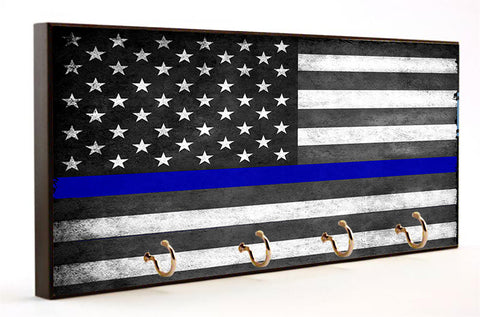 Thin Blue Line Subdued American Flag Key Hanger
