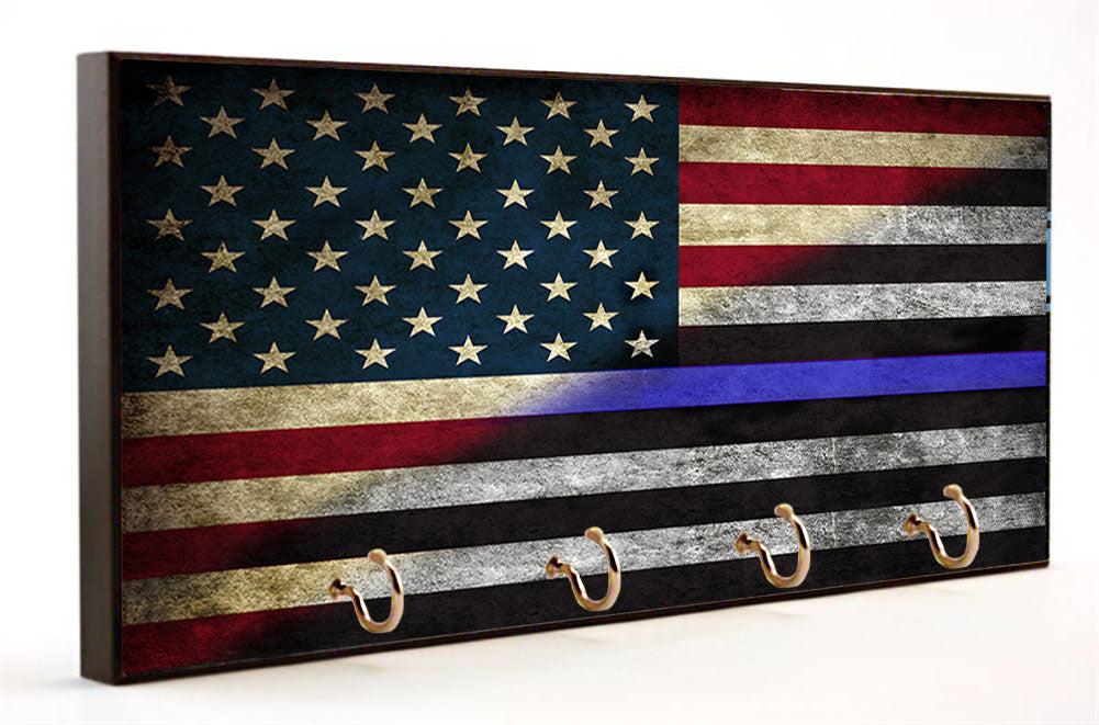 Thin Blue Line Red, White and Blue American Flag Key Hanger