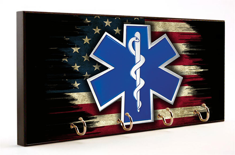 EMS Star of Life Distressed American Flag Key Hanger