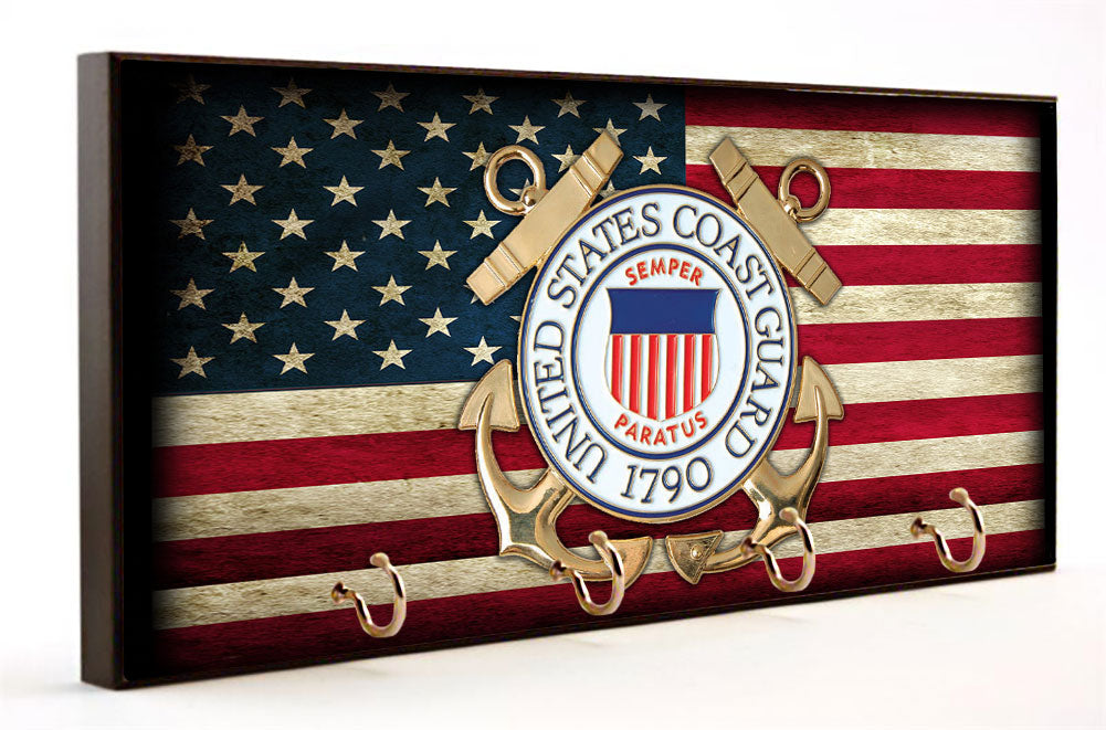 U.S. Coast Guard Distressed American Flag Key Hanger