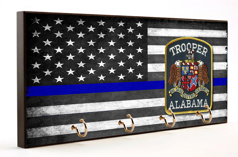 Thin Blue Line Alabama State Trooper Key Hanger