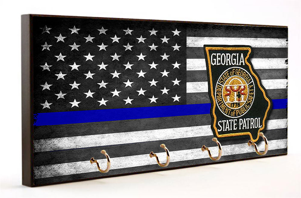 Thin Blue Line Georgia State Patrol Key Hanger