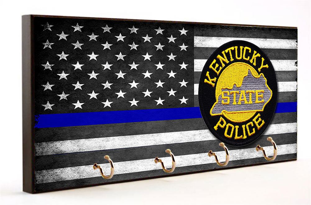 Thin Blue Line Kentucky State Police Key Hanger
