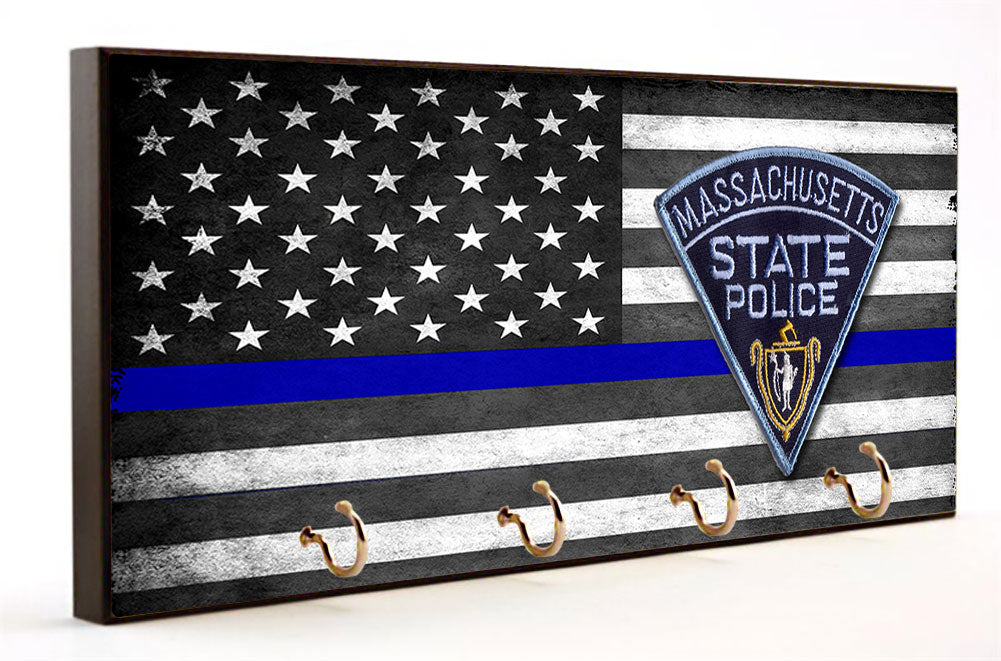 Thin Blue Line Massachusetts State Police Key Hanger