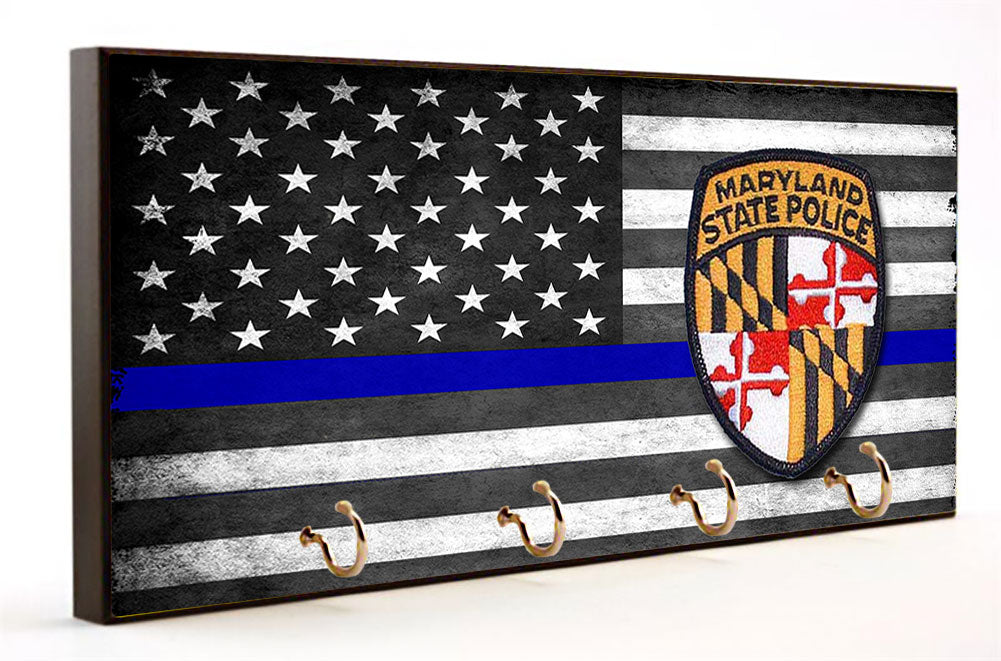 Thin Blue Line Maryland State Police Key Hanger