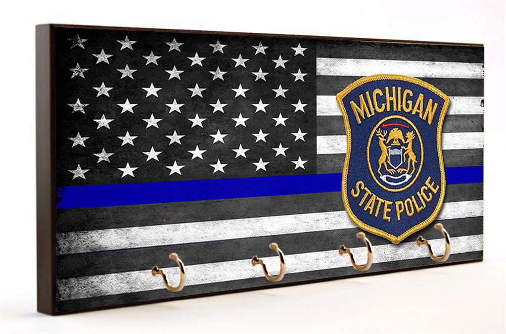 Thin Blue Line Michigan State Police Key Hanger