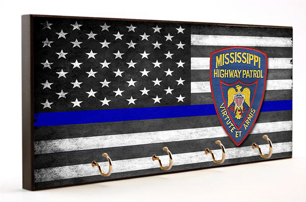 Thin Blue Line Mississippi Highway Patrol Key Hang