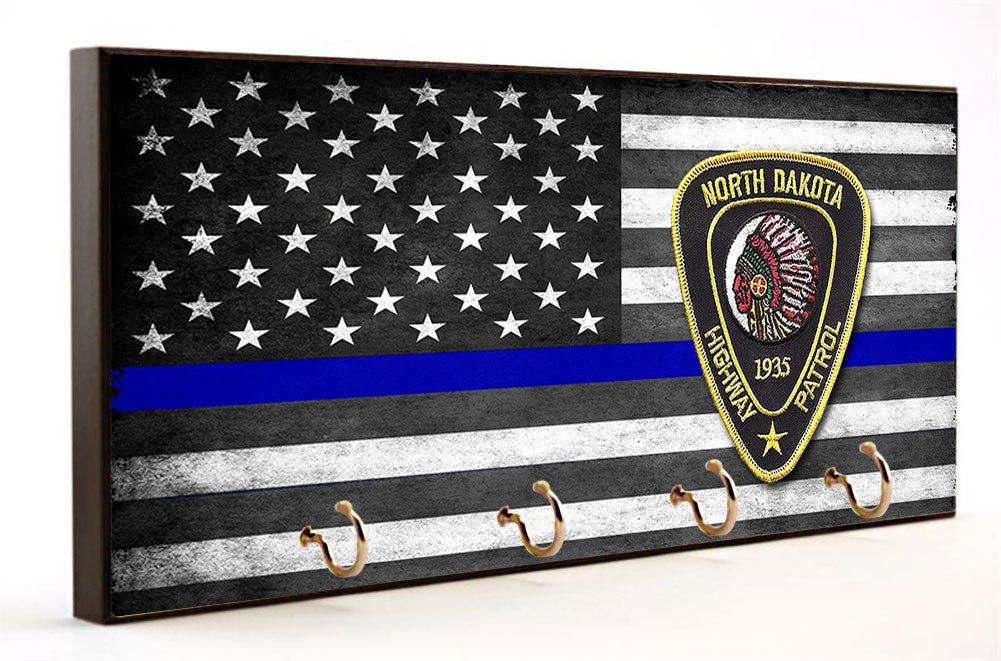 Thin Blue Line North Dakota Highway Patrol Key Hanger