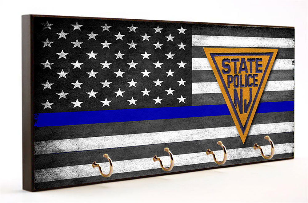 Thin Blue Line New Jersey State Police Key Hanger