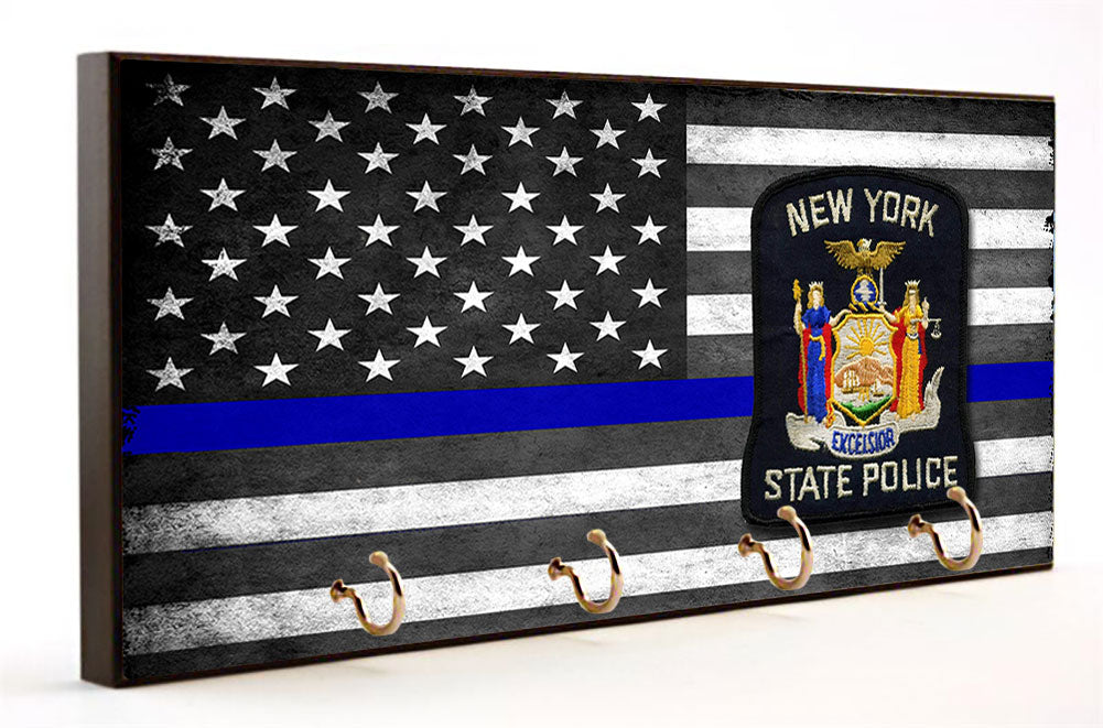 Thin Blue Line New York State Police Key Hanger