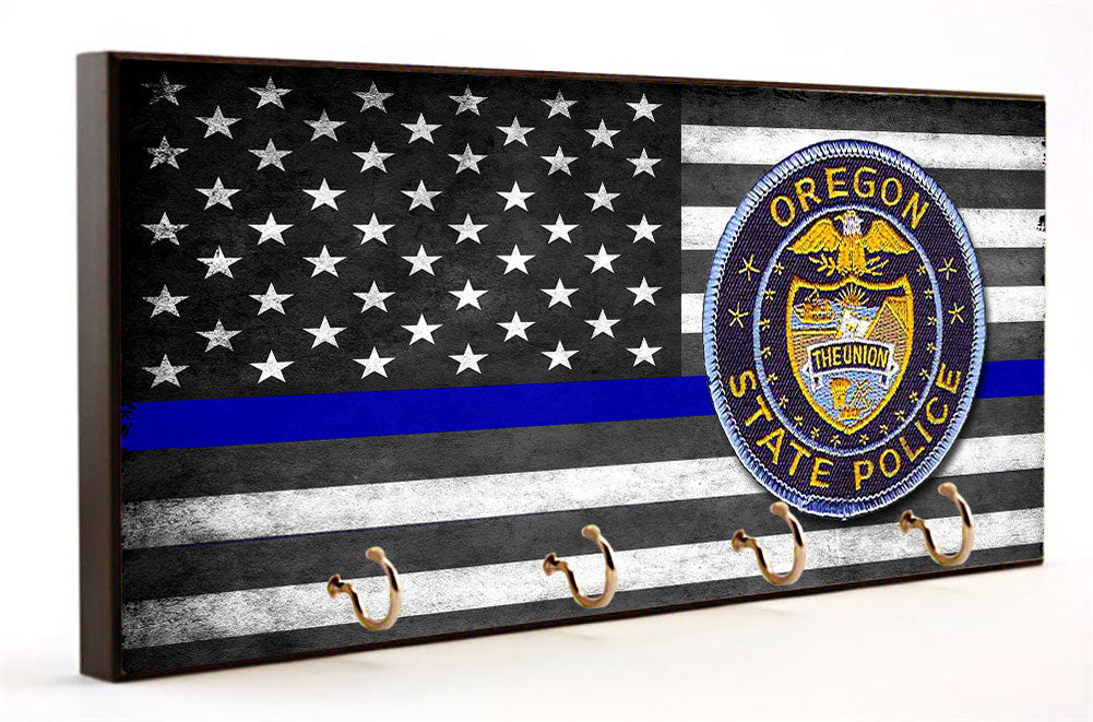 Thin Blue Line Oregon State Police Key Hanger