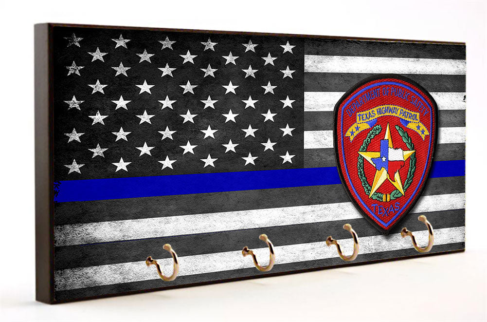 Thin Blue Line Texas Highway Patrol Key Hanger