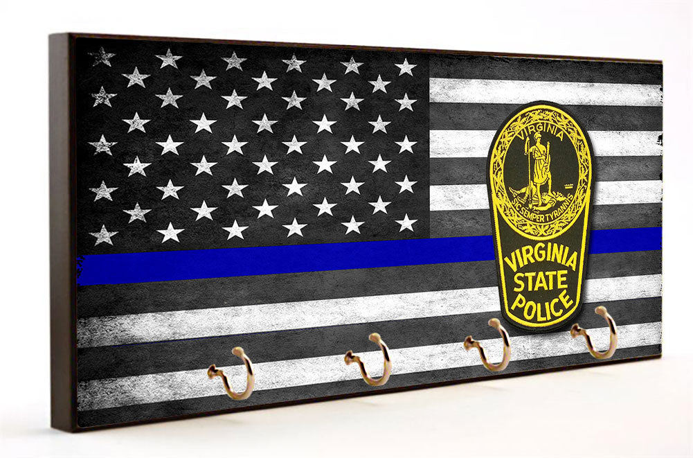 Blue Line Virginia State Highway Patrol Key Hanger