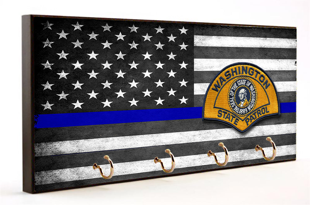 Thin Blue Line Washingon State Patrol Key Hanger
