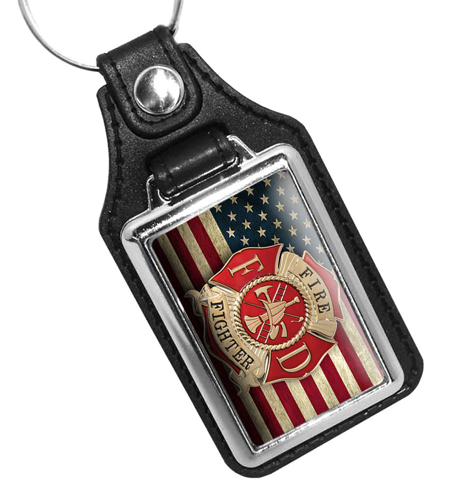 Firefighter Maltese Cross Emblem American Flag Design Faux Leather Key Ring