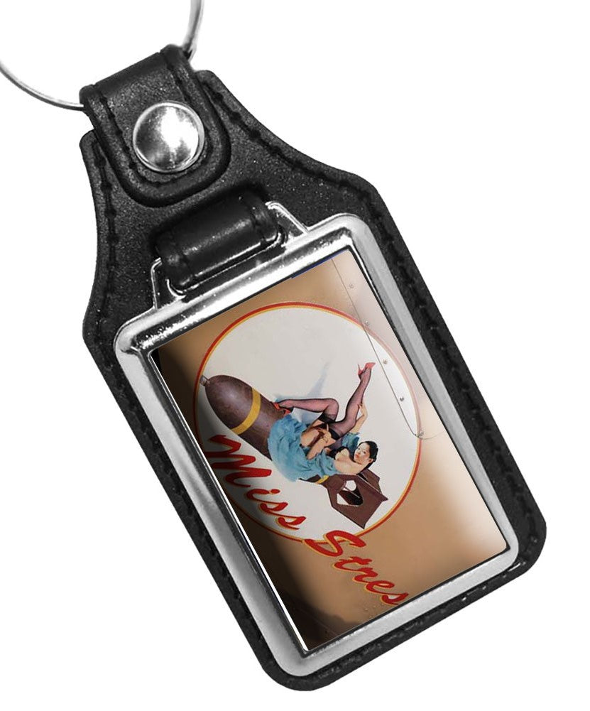United States Air Force Nose Art Miss Stress Faux Leather Key Ring