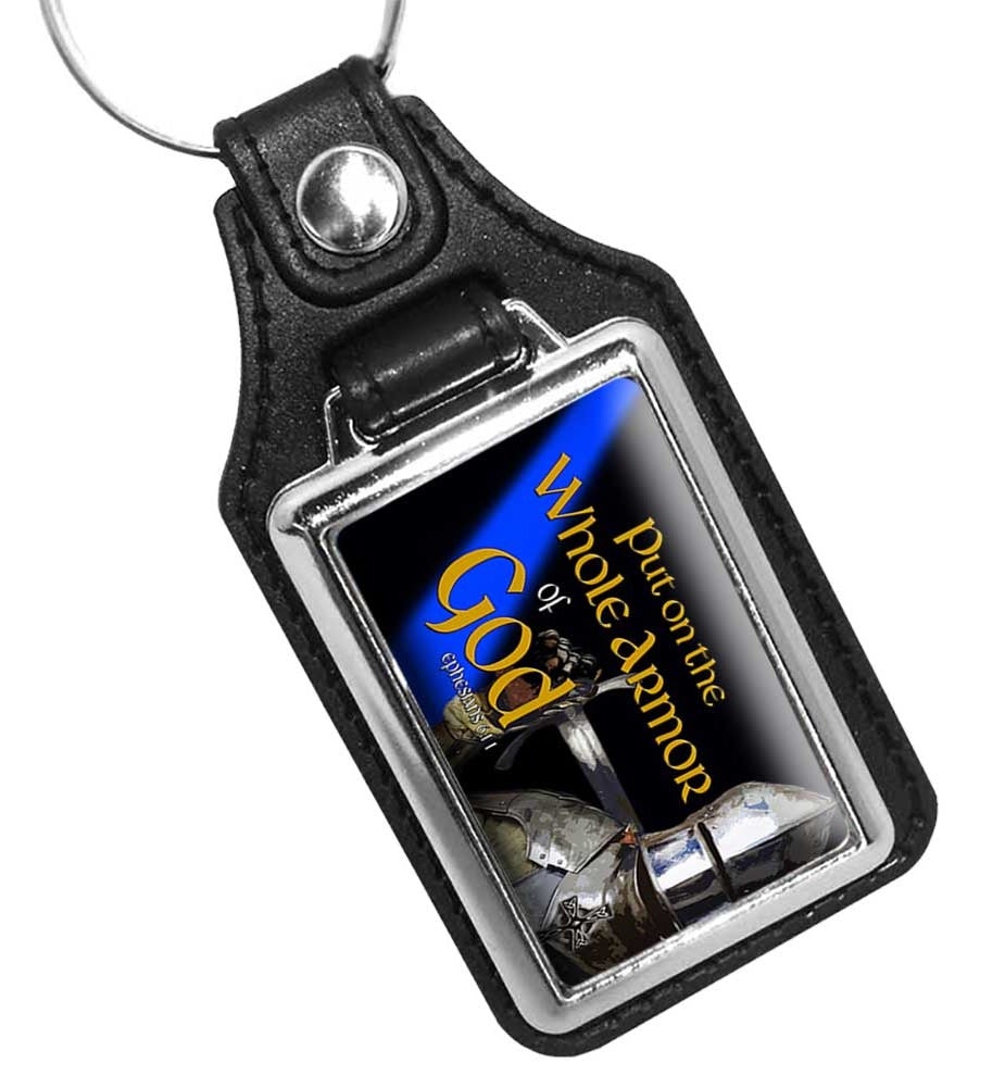 Thin Blue Line Put On The Whole Armor of God Faux Leather Key Ring