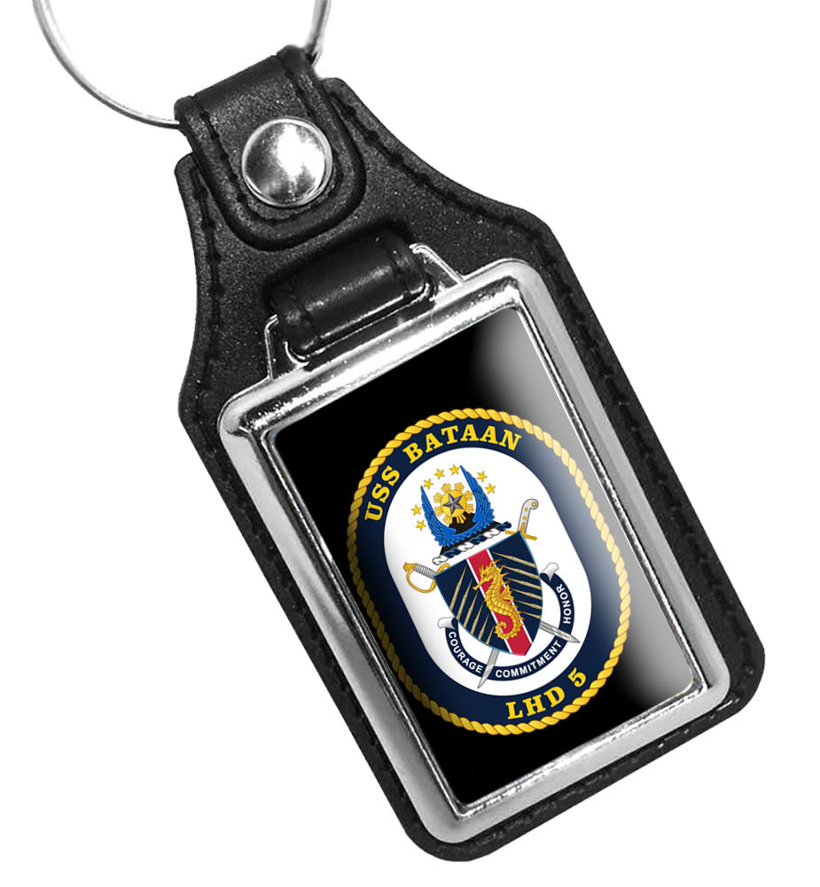 United States Navy Ship USS Bataan LHD 5 Faux Leather Key Ring