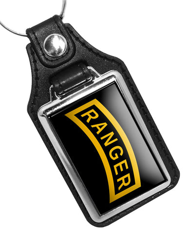 United States Army Ranger Rocker Tab Faux Leather Key Ring
