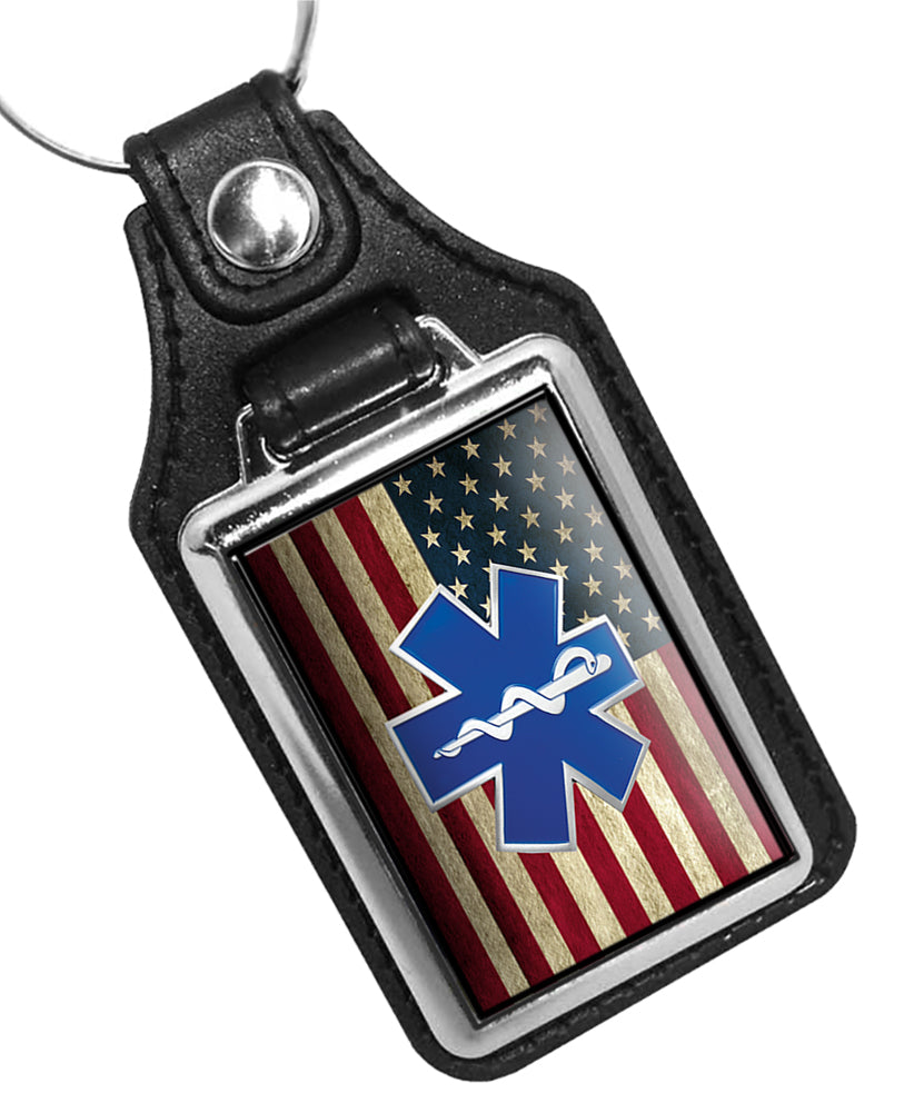 Subdued American Flag Paramedic EMT EMS Star of Life Emblem Faux Leather Key Ring