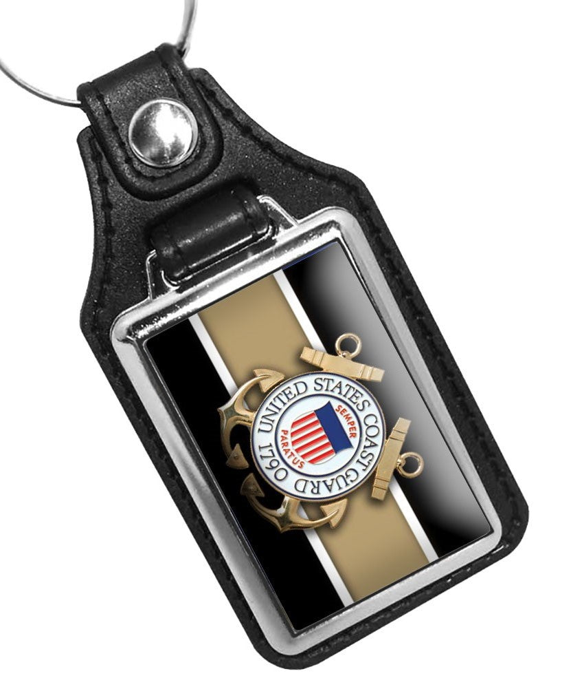 United States Coast Guard Emblem Design Faux Leather Key Ring