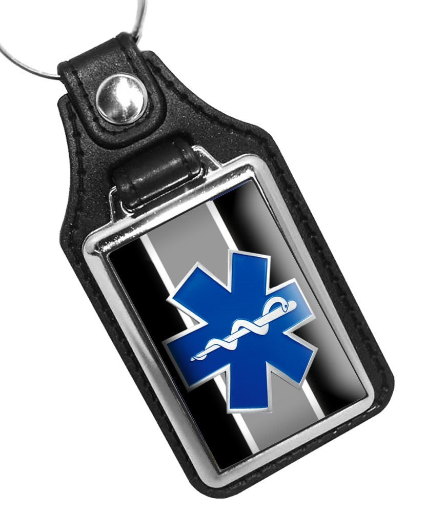 Black White Stripe Paramedic EMT EMS Star of Life Emblem Faux Leather Key Ring