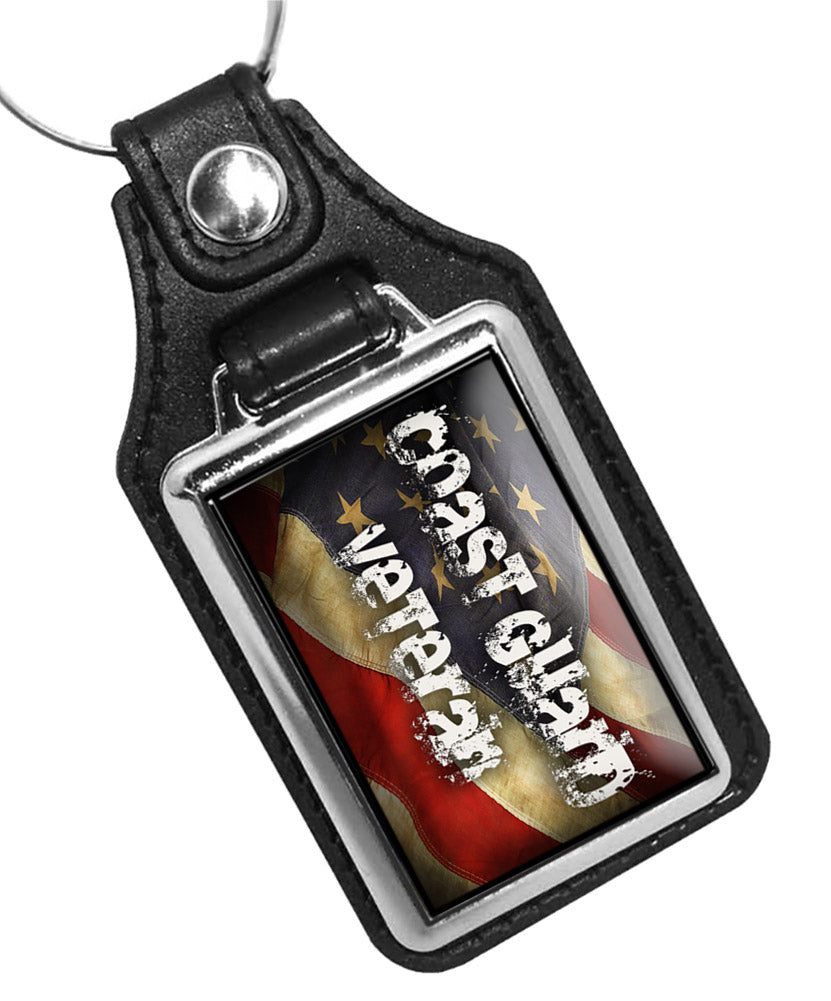 United States Coast Guard Veteran American Flag Faux Leather Key Ring