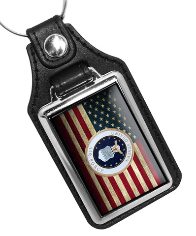 United States Air Force Seal American Flag Faux Leather Key Ring