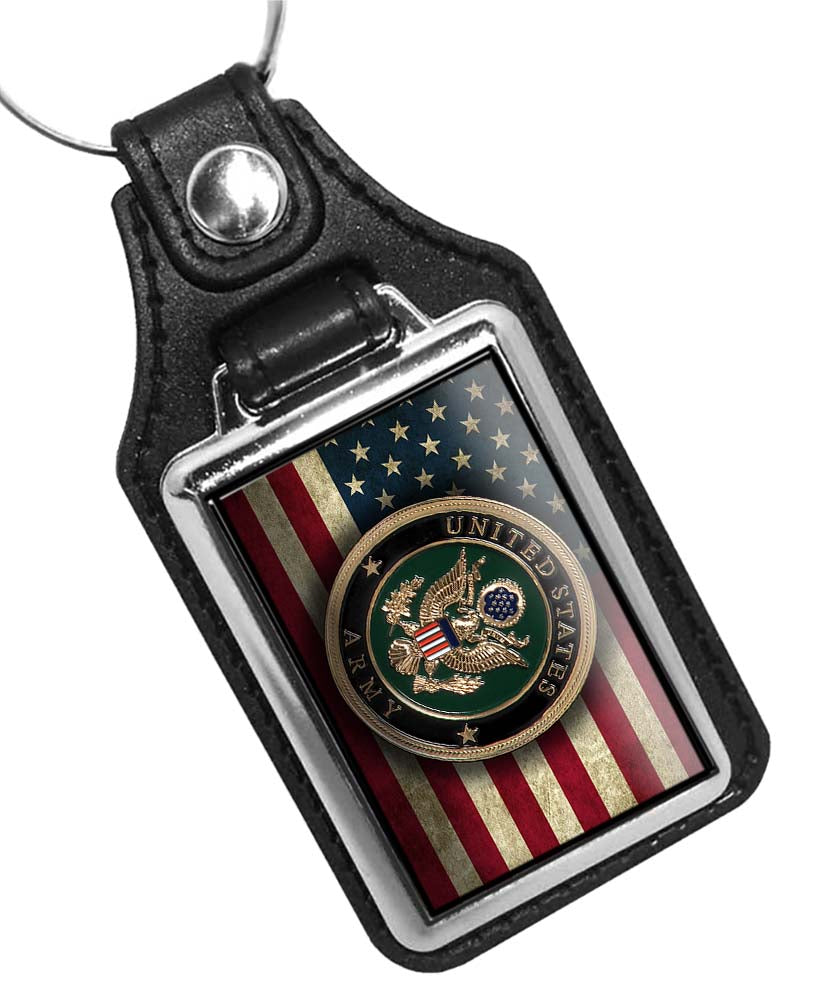United States Army Seal over Distressed American Flag Design Faux Leather Key Ring