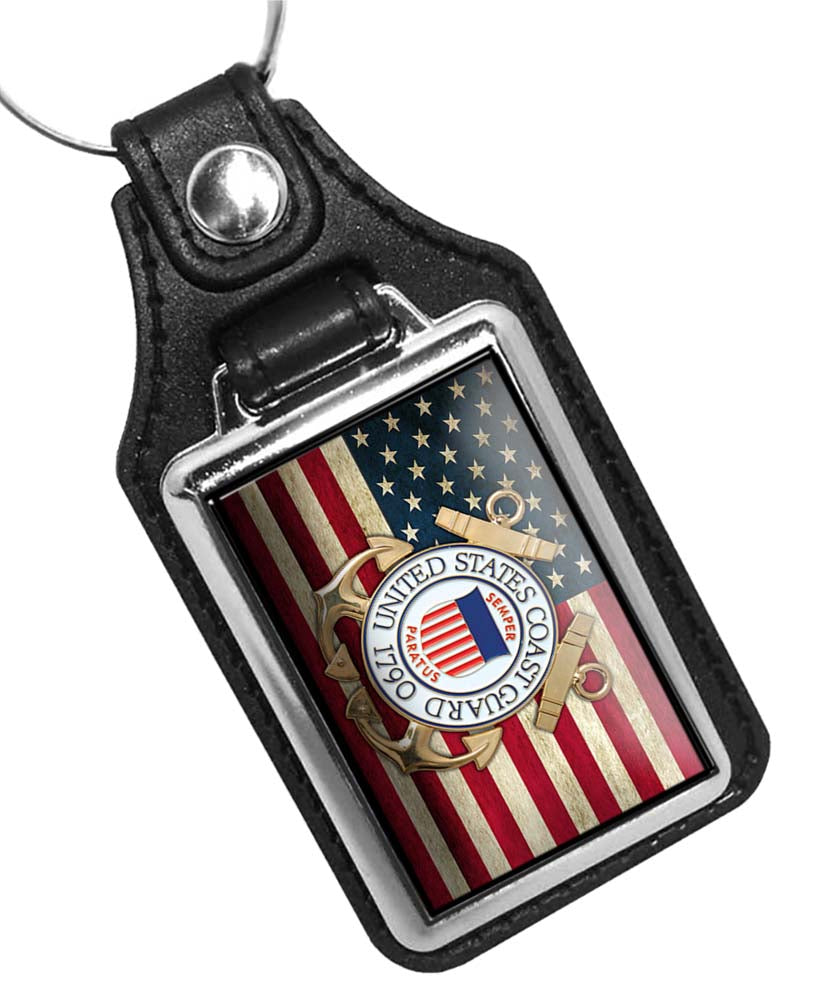 United States Coast Guard Emblem with American Flag Faux Leather Key Ring