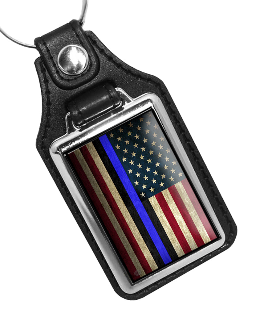 Police Key Chain With American Flag Thin Blue Line Graphic