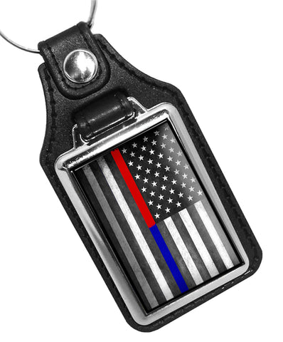Police Thin Blue Line Firefighter Thin Red Line American Flag Design Faux Leather Key Ring
