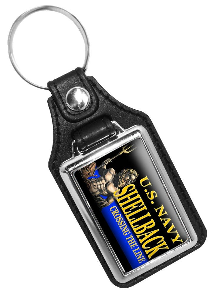 United States Navy Golden Shell Back Crossing The Line Faux Leather Key Ring
