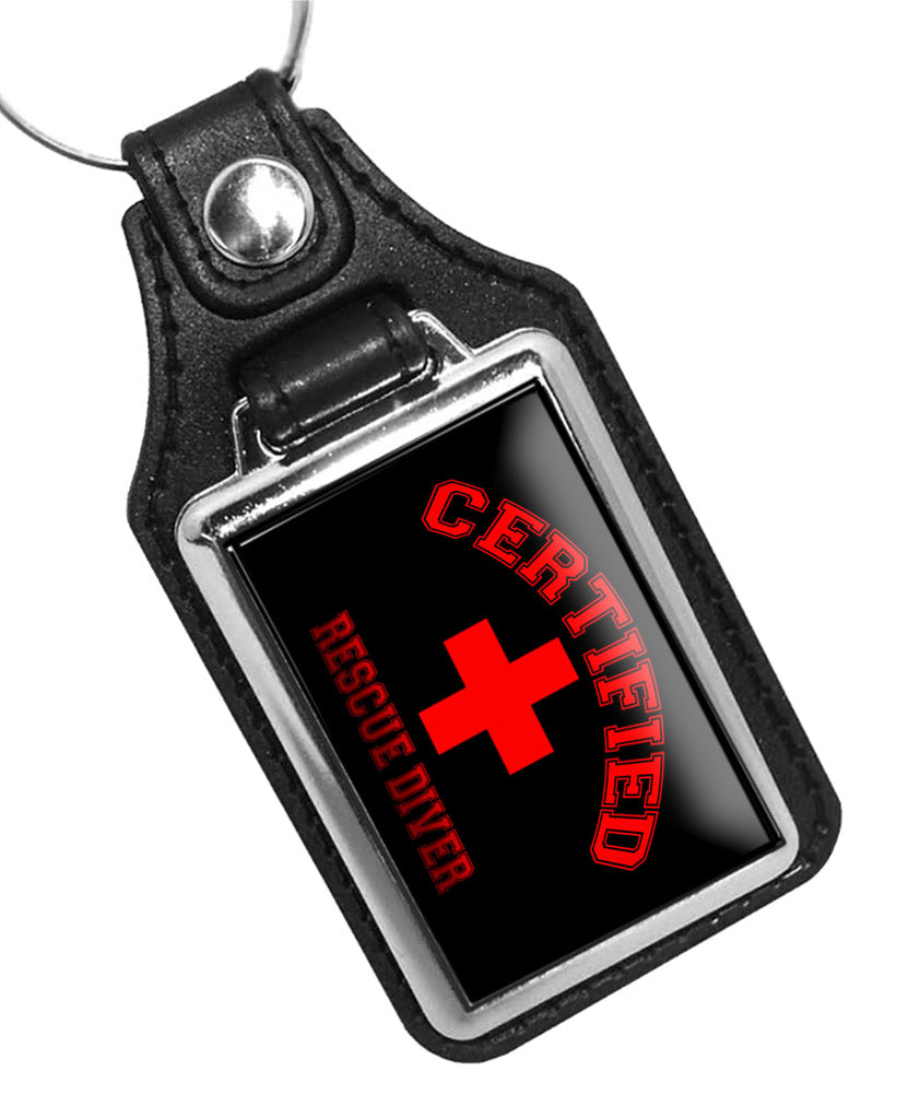 Certified Rescue Diver Red Cross Emblem Faux Leather Key Ring