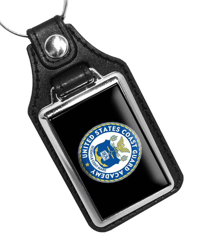 United States Coast Guard Academy Emblem Faux Leather Key Ring