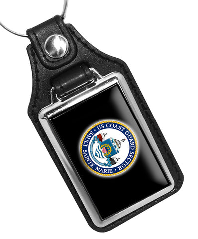 United States Coast Guard Sector Sault Sainte Marie Faux Leather Key Ring