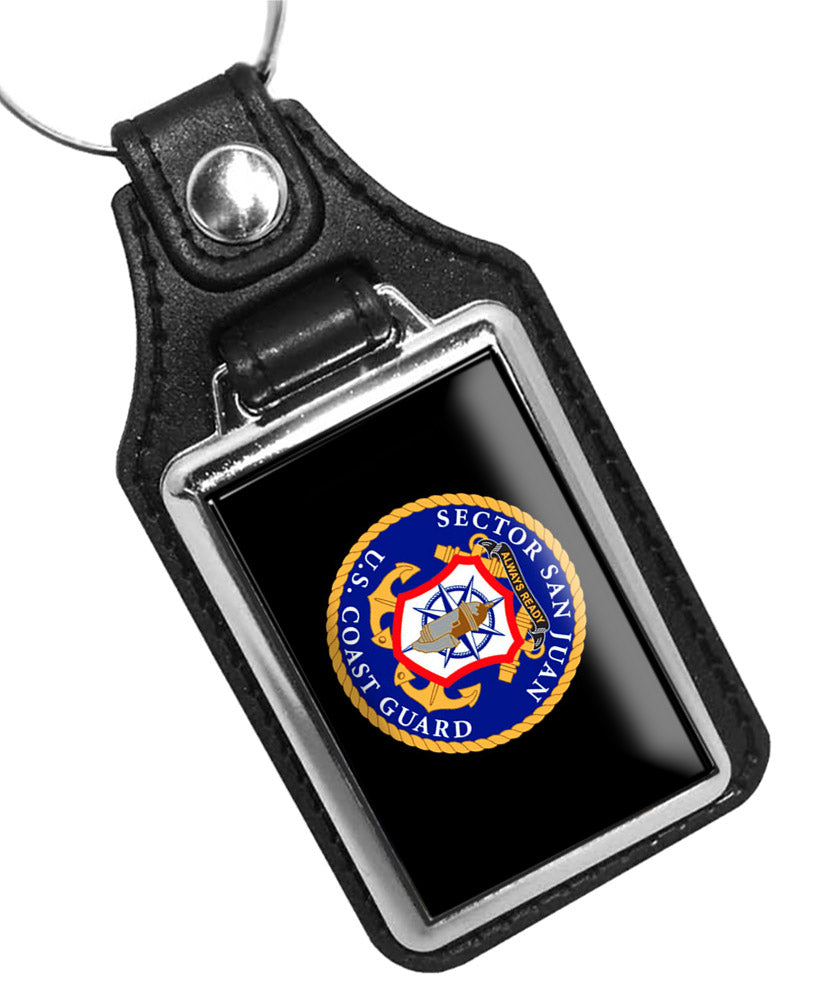 United States Coast Guard Sector San Juan Emblem Faux Leather Key Ring