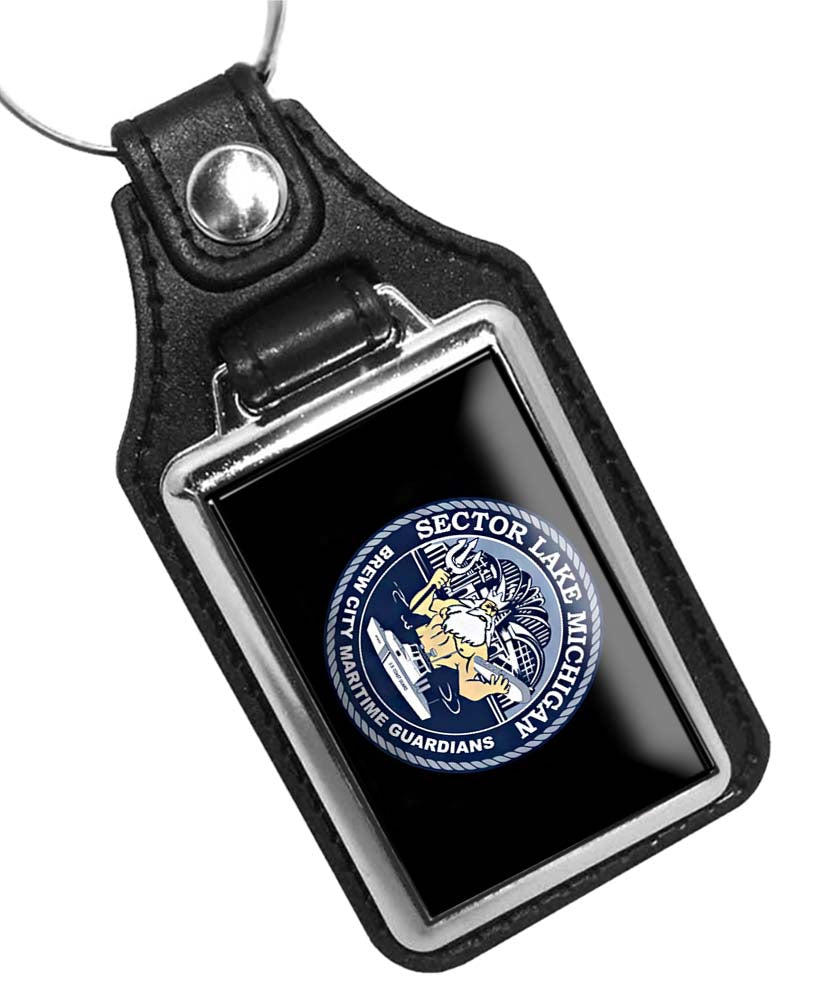 United States Coast Guard Sector Lake Michigan Faux Leather Key Ring