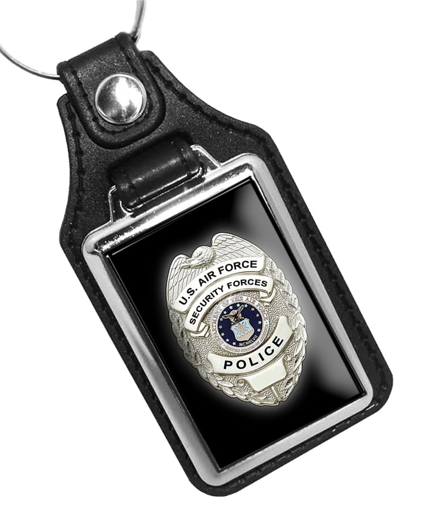 United States Air Force Security Forces Police Badge Faux Leather Key Ring