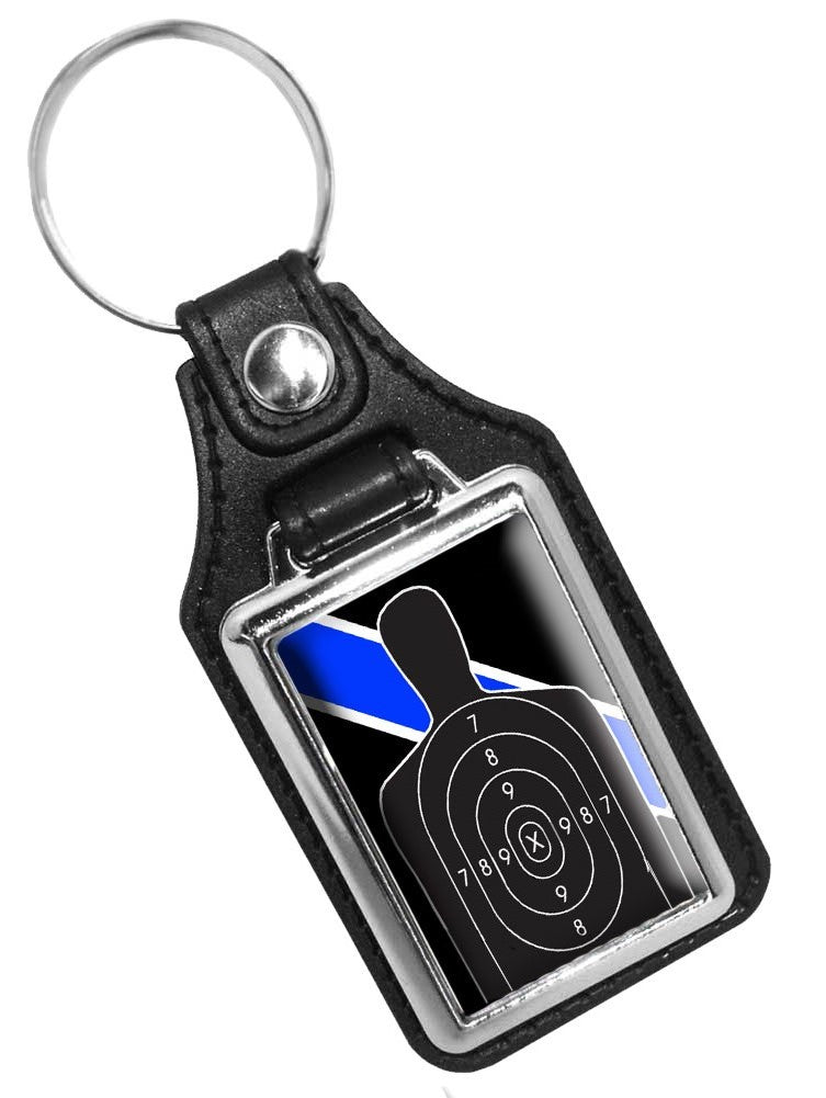 Thin Police Key Chain Blue Line Firearms Instructor B-27 Target