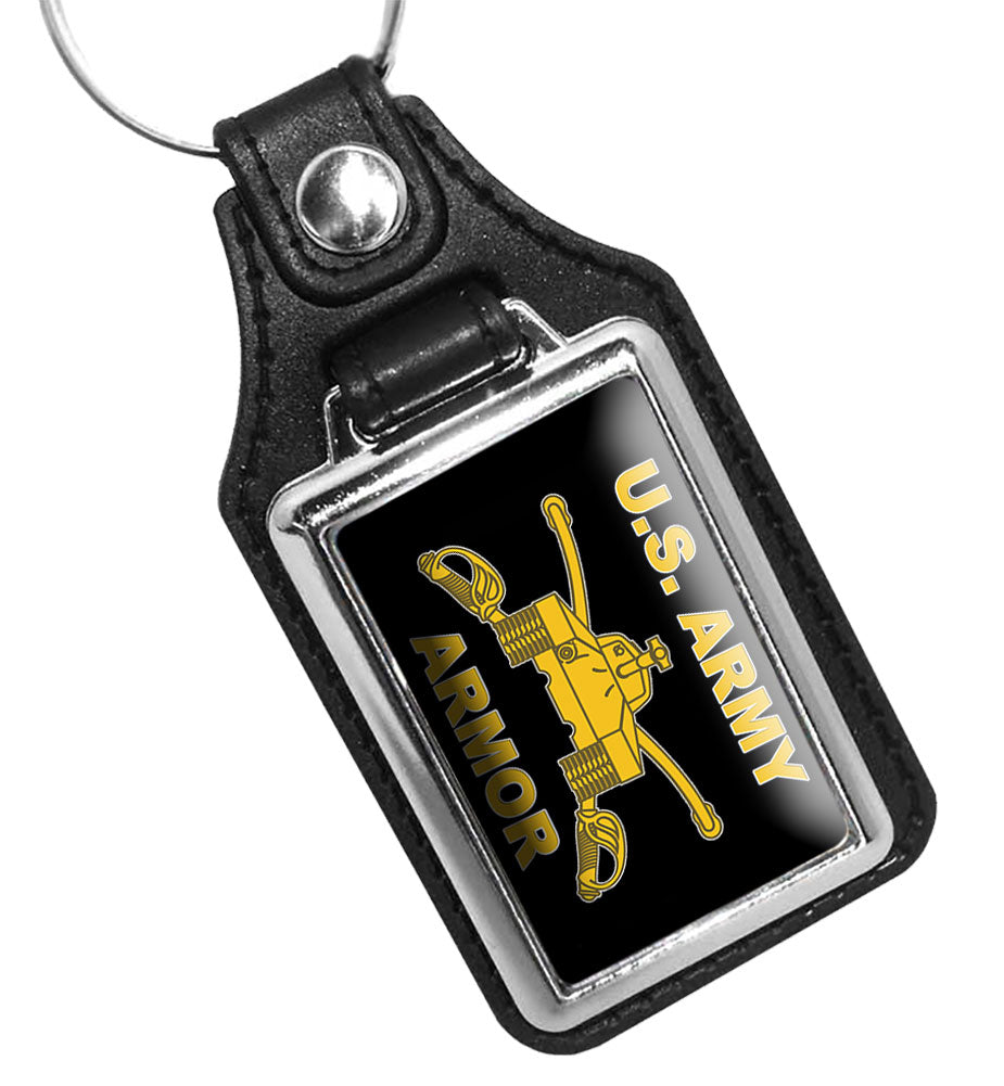 United States Army Armor Combat Arm of Decision Faux Leather Key Ring
