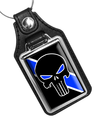 The Punisher Thin Blue Line Police Sheriff Faux Leather Key Ring